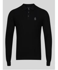 Luke  1977 Job & Knock Knited Long Sleeve knited Polo In Black