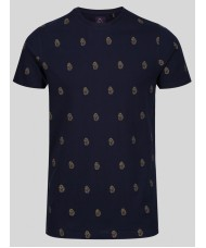 "Luke ""Marbella"" Crew Neck Multi Lion embroidered T-shirt in Navy - M480105"