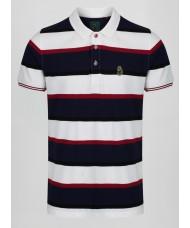 Luke Stripe New Mead Polo Shirt - White Navy & Burgundy - M501450