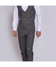 """Marc Darcy """"Jenson""""  Grey & Tan Check Waistcoat"""