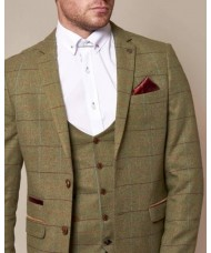 Marc Darcy 'Ellis' Moss Green Check Tweed Blazer