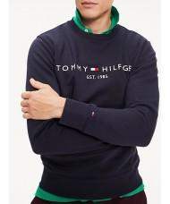 Tommy Hilfiger Organic Cotton Blend Logo Sweatshirt In Navy Blue