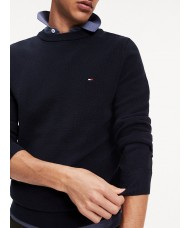 Tommy Hilfiger Cotton Textured Crew Neck Jumper In Navy Blue - MWOMW11660