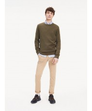 Tommy Hilfiger Cotton Textured Crew Neck Jumper In Khaki - MWOMW11660