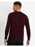 Lyle & Scott Crew Neck Cotton Merino Sweater In Burgundy - KN400VC
