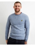 Lyle & Scott Cable Knit Sweater in Stone Blue Marl - KN732V