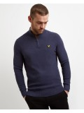 Lyle & Scott Moss Stitch 1/4 Zip Jumper In Dark Navy Marl - KN906V