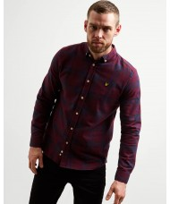 Lyle & Scott Long Sleeve Button Down Check Flannel Shirt - Burgundy - LW1103V