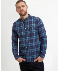 Lyle & Scott Long Sleeve Button Down Check Flannel Shirt - Navy Blue - LW1103V