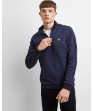 Lyle & Scott Space Dye Funnel Neck Half Zip Sweatshirt In Navy - ML1109V