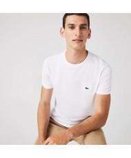 Lacoste Men's Crew Neck Pima Cotton Jersey T-shirt In White - TH6709 00 001