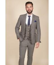 """Marc Darcy """"Hardwick"""" Single Breasted  Navy Grey & Tan Tweed Check Blazer"""
