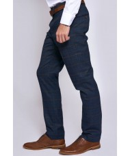 Marc Darcy 'Jenson' - Navy & Tan Check Trousers