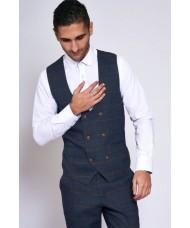 """Marc Darcy """"Jenson"""" Double Breasted Navy & Tan Check Waistcoat"""