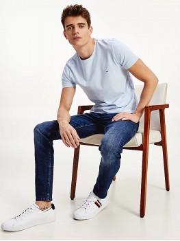 Tommy Hilfiger Stretch Organic Cotton Slim Fit T Shirt In Light Blue - MW0MW10800