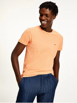 Tommy Hilfiger Stretch Organic Cotton Slim Fit T Shirt In Orange - MW0MW10800