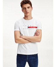 Tommy Hilfiger Organic Cotton Signature Tape Logo T-Shirt In White - Style MW0MW16572