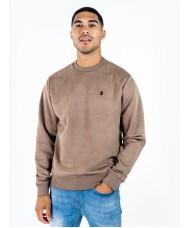 Luke Dennis long sleeved crew neck faux suede sweatshirt In Camel - M590302