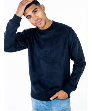 Luke Dennis long sleeved crew neck faux suede sweatshirt In Navy - M590302