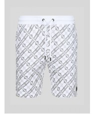 """Luke """"What have you done"""" repeat print sweat short in white - M590327"""
