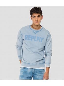 Replay Essential crewneck cotton sweatshirt in light blue M3329 .000.23158G