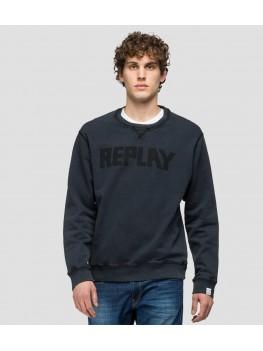 Replay essential crewneck cotton sweatshirt in blackboard M3329 .000.23158G