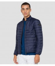 Replay Navy blue Turtleneck quilted jacket in recycled nylon M8166 .000.83966R