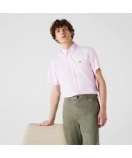 Lacoste Men's Regular Fit Short Sleeve Cotton Shirt In Pink - CH2944 00 ADY
