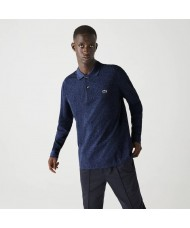 Lacoste classic fit long-sleeve polo in marl petit piqué - Blue - L1313 00 HAU