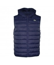 Lacoste Sport Hooded Water-Resistant Ripstop Quilted Vest In Navy Blue BH1552 00 423