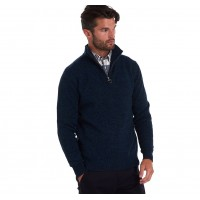 Barbour Essential Lambswool Half Zip Sweater In Navy Mix - MKN0339NY35
