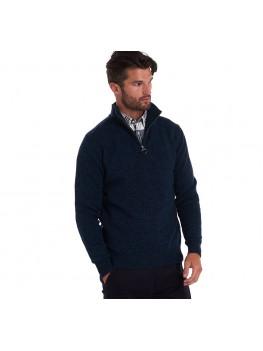 Barbour Essential Lambswool Half Zip Sweater In Navy Mix - MKN0339NY35