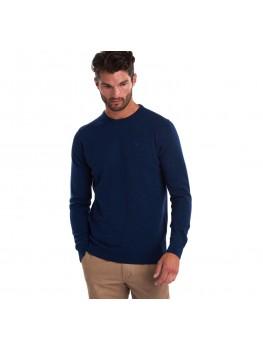 Barbour Essential Lambswool Crew Neck Sweater In Deep Blue - MKN0345BL71
