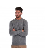 Barbour Essential Lambswool Crew Neck Sweater In Grey Marl - MKN0345GY73