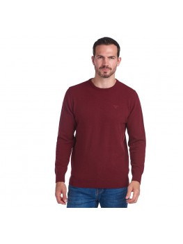 Barbour Essential Lambswool Crew Neck Sweater In Ruby Red - MKN0345RE53