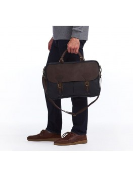 Barbour Wax Leather Briefcase In Navy - UBA0004NY91