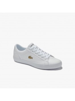 Lacoste Lerond Leather Trainer in White With Gold Crocodile