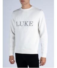 "Luke 1977 ""Red Alert"" Multi Text Crew Neck Sweatshirt In Cream - M560317"