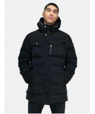 Luke Utilitarian Thigh Length Hooded Jacket In Jet Black - M560707