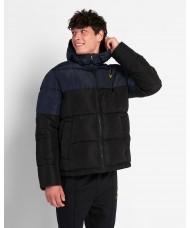 Lyle & Scott Colourblock Puffer Jacket In Jet Black & Dark Navy - JK1350V