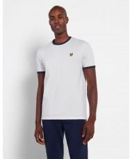 Lyle & Scott Crew Neck Ringer T Shirt In White & Navy - TS705V