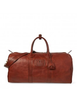 Ralph Lauren Smooth Leather Duffel In Brown