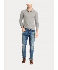 Polo Ralph Lauren Slim Fit Long Sleeve Slim Fit Polo Shirt In Grey Heather