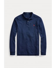 Polo Ralph Lauren Slim Fit Long Sleeve Slim Fit Polo Shirt In Navy