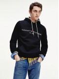 Tommy Hilfiger Logo Flex Fleece Hoody In Black - Style MW0MW10752