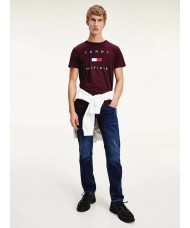 Tommy Hilfiger Cotton Flag T-Shirt In Deep Burgundy - MW0MW14313