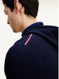 Tommy Hilfiger Organic Cotton Honeycomb Knit Hoody In Navy Blue - MW0MW15438