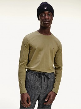 Tommy Hilfiger Long Sleeve Slim Fit T-Shirt in Utility Olive - MW0MW10804
