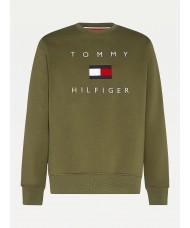 Tommy Hilfiger Flag Sweatshirt In Utility Olive - MW0MW14204