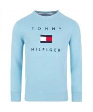 Tommy Hilfiger Flag Sweatshirt In Columbia Blue - MW0MW14204